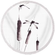 Free As The Dragonflies Round Beach Towel
