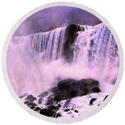 Free Falls Oil Effect Image Round Beach Towel