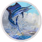 Free Jumper Off00152 Round Beach Towel by Carey Chen
