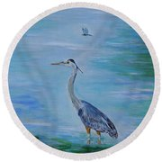 Free Spirit Blue Heron Round Beach Towel