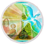 Free Spirit Dreamscape - Within Border Round Beach Towel