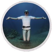 Freediver Underwater Round Beach Towel by Hagai Nativ