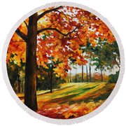 Freedom Of Autumn - Palette Knife Oil Painting On Canvas By Leonid Afremov Round Beach Towel