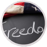 Freedom Sign On Chalkboard Round Beach Towel
