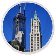 Freedom Tower And Woolworth Building Round Beach Towel