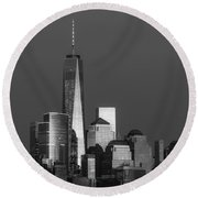 Freedom Tower Glow Bw Round Beach Towel