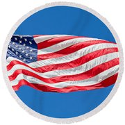 Freedom American Flag Art Prints Round Beach Towel