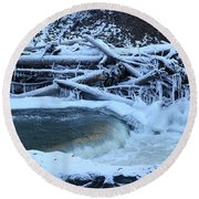 Freezing Dam Round Beach Towel