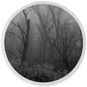 Freezing Rogue Valley Fog At Night Round Beach Towel