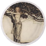 Freia The Fair One Illustration From The Rhinegold And The Valkyrie Round Beach Towel
