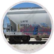 Freight Train Graffiti 7 Round Beach Towel