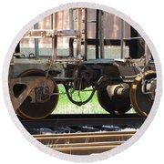 Freight Train Wheels 13 Round Beach Towel