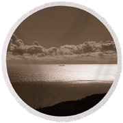 Freighter And The Catalina Channel Round Beach Towel