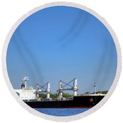 Freighter On River Round Beach Towel by Olivier Le Queinec