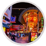 Fremont Street Lights 2 Round Beach Towel