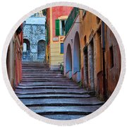 French Alley Round Beach Towel
