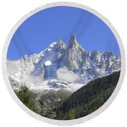 French Alps Round Beach Towel