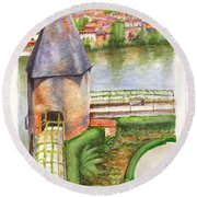 French Battlement Tower Round Beach Towel