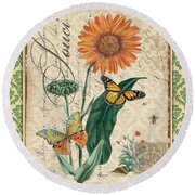French Botanical Damask-a Round Beach Towel