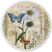 French Botanical Damask-d Round Beach Towel