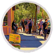 French Bread On Laurier Street Montreal Cafe Scene Sunny Corner With Vente De Garage Sign Round Beach Towel