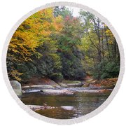 French Broad River In Fall Round Beach Towel
