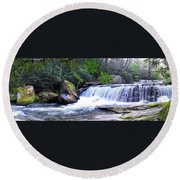 French Broad River Waterfall Round Beach Towel