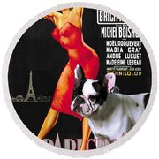 French Bulldog Art - Una Parigina Movie Poster Round Beach Towel