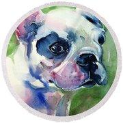 French Bulldog Painting Round Beach Towel