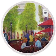 French Cafe Round Beach Towel