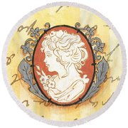 French Cameo 2 Round Beach Towel
