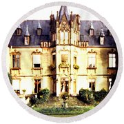 French Chateau 1955 Round Beach Towel