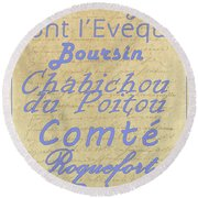 French Cheeses-1 Round Beach Towel