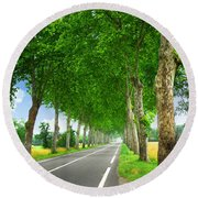 French Country Road Round Beach Towel