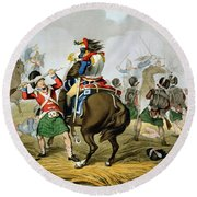 French Cuirassiers At The Battle Round Beach Towel