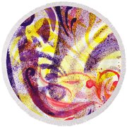 French Curve Abstract Movement II Round Beach Towel