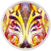 French Curve Abstract Movement Vi Mystic Flower Round Beach Towel
