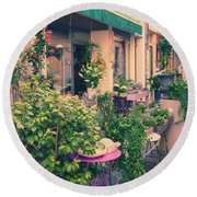 French Floral Shop Round Beach Towel