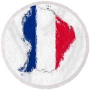 French Guiana Painted Flag Map Round Beach Towel