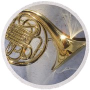 French Horn Iv Round Beach Towel