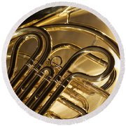 French Horn I Round Beach Towel