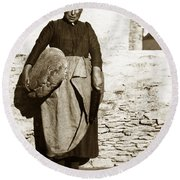 French Lady With A Very Large Bread France 1900 Round Beach Towel