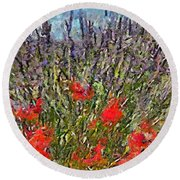 French Lavender Field Round Beach Towel