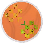 French Lillies Abstract Round Beach Towel