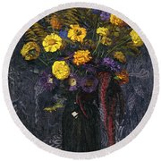 French Marigold Purple Daisies And Golden Sheaves Round Beach Towel