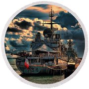 French Naval Frigate Round Beach Towel