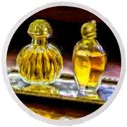 French Perfume Round Beach Towel