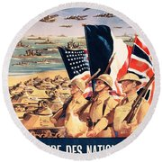 French Propaganda Poster Published In Algeria From World War II 1943 Round Beach Towel