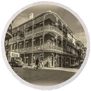 French Quarter Afternoon Sepia Round Beach Towel