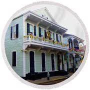 French Quarter Architecture Round Beach Towel